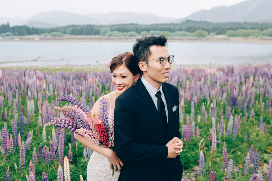 J&J: Pre-wedding at Christchurch Botanic Gardens, snowy mountain and purple lupins by Xing on OneThreeOneFour 8