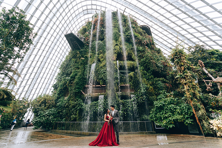 singapore wedding photoshoot cloud forest gardens by the bay