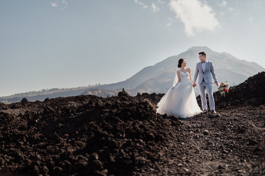 B&R: Pre-wedding photoshoot at Mount Batur Pinggan, Kintamani Lava Field, flower field and Mengening Beach by Hendra on OneThreeOneFour 9